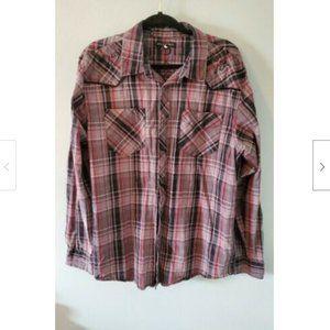 Affliction BKE XL Plaid Fleur De Lis Shirt